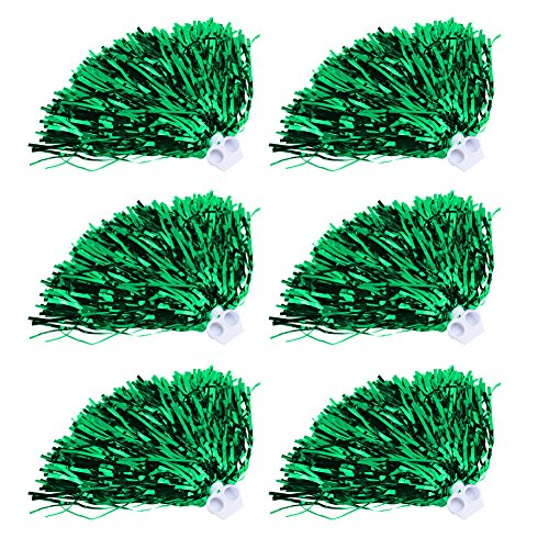 Cheerleader Pom Poms 12pcs Cheerleading Poms Metallic Foil Pom Poms Squad Cheer Sports Party Dance Useful Accessories (Green)