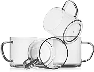 Glass Coffee Mugs(Set of 4),14-oz Clear Borosilicate Glass Coffee Cups,Lead-Free Drinking Glasses,Large Tea Cups with Comfortable Handle,Latte & Mocha Mugs,Espresso Coffee Gifts for Home and Cafe