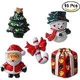 ROSENICE Décoration de Noël Bonhomme de Neige Arbre de Noël Père Noël Miniature Noel 15 Pièces