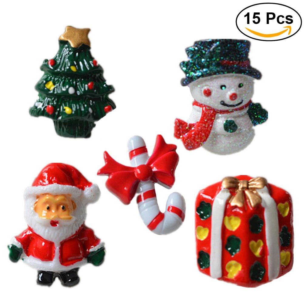 Rosenice Natale ornamenti resina pupazzo di Babbo Natale albero di Natale Candy Cane in miniatura ornamenti decorazione accessori fai da te–15pezzi