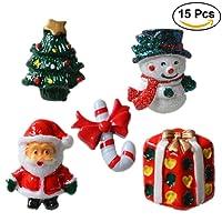 ULTNICE 15pcs Accessoires de Noël miniatures Résine Snowman Santa Claus Christmas Tree Candy Cane