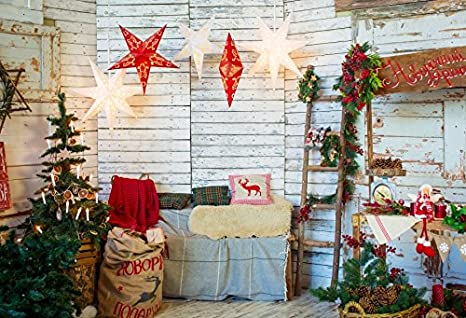 baocicco grunge log cabin christmas decorations interior backdrop 10x8ft photography background wooden wall star pendant shiny