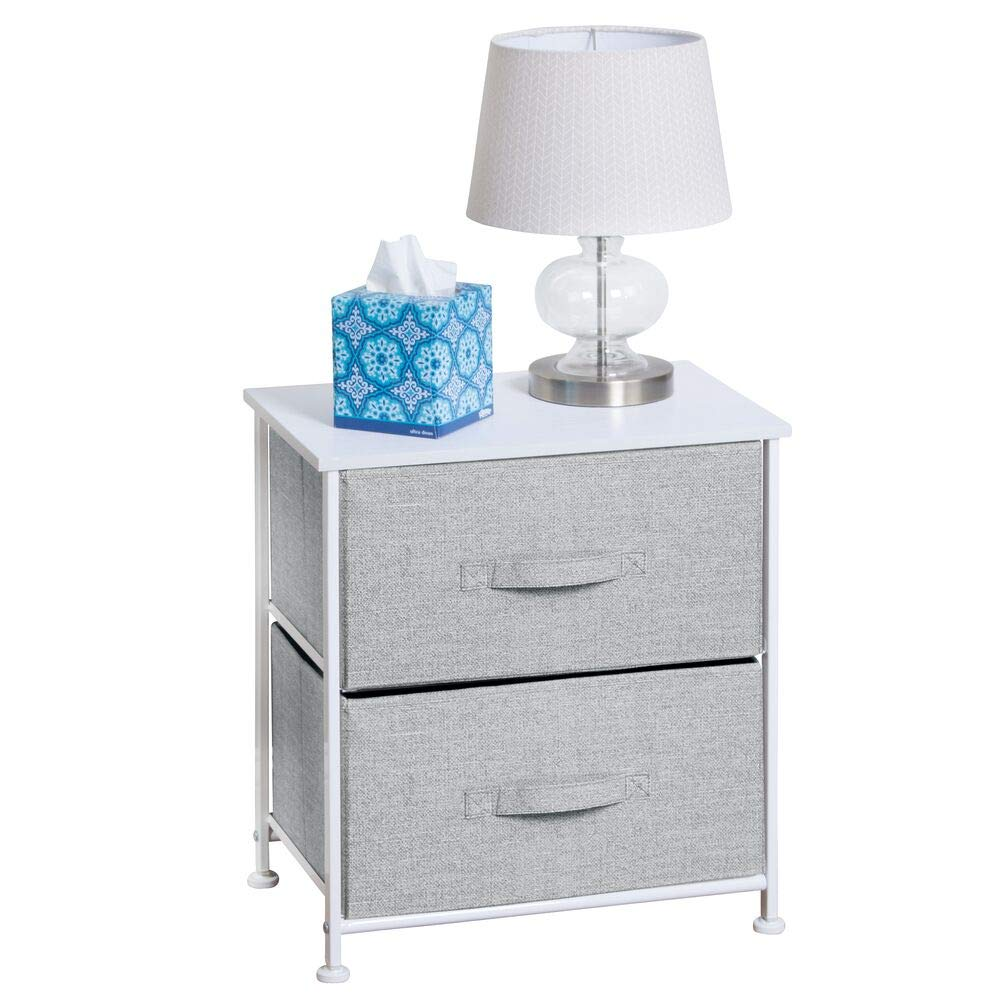 mDesign Night Stand/End Table Storage Tower - Sturdy Steel Frame, Wood Top, Easy Pull Fabric Bins - Organizer Unit for Bedroom, Hallway, Entryway, Closets - Textured Print - 2 Drawers - Gray/White by mDesign