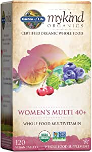 Garden of Life Multivitamin for Women - mykind Organic Women's 40+ Whole Food Vitamin Supplement, Vegan, 120 Tablets