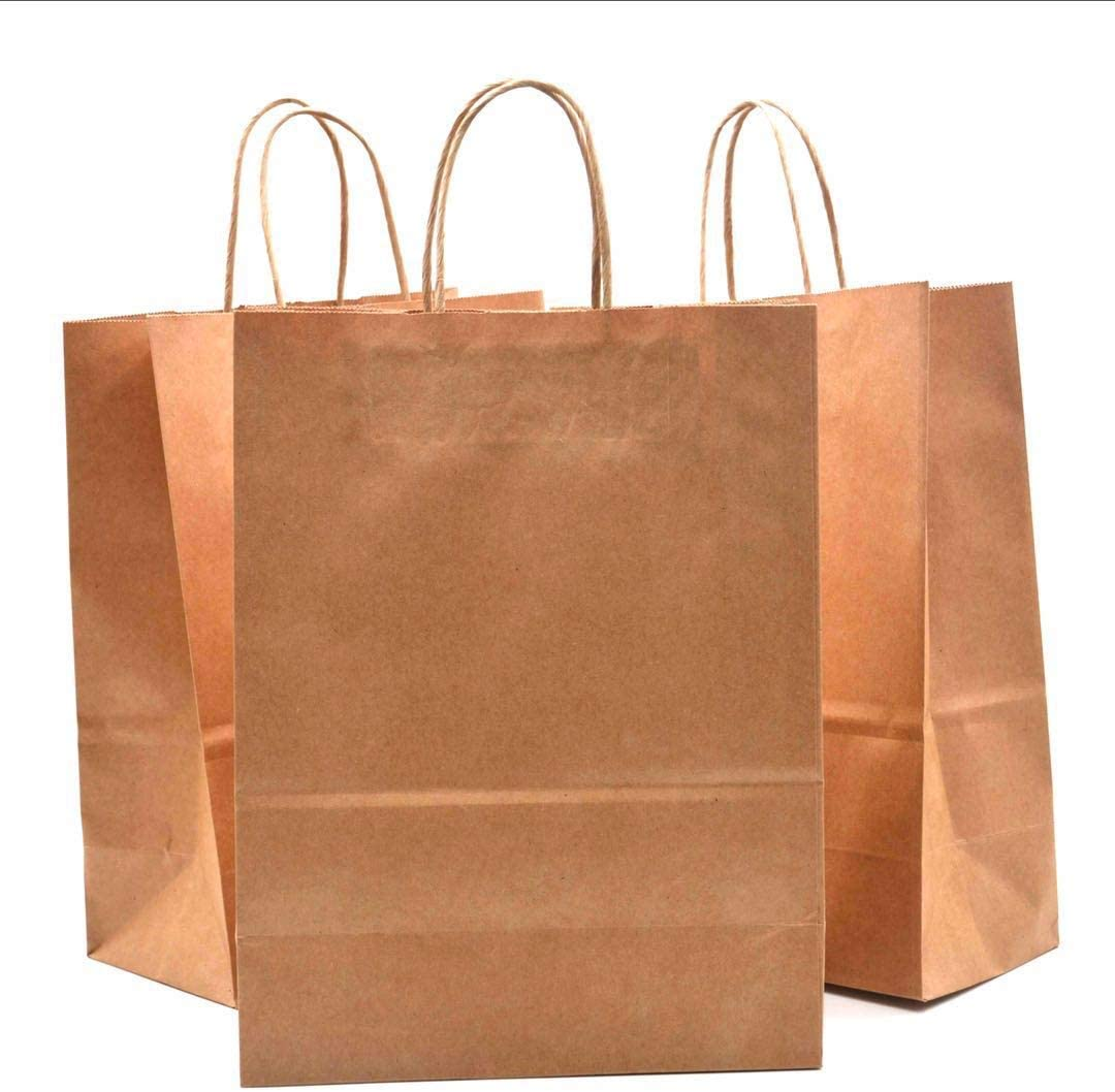Party Retail Packaging Gifts Haiquan 50Pcs Brown Kraft Paper Bags 5.25 x 3.75 x 8 inchs Recycled Bags Bulk with Handles for Shopping Wedding