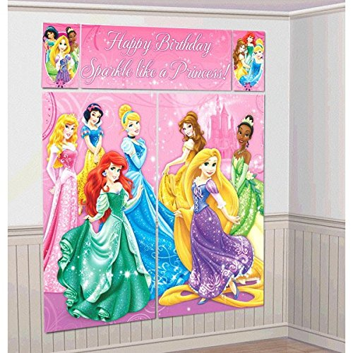 Disney Princess Sparkle Birthday Party Scene Setters Wall Decorating Kit (5 Pack), Pink, 59