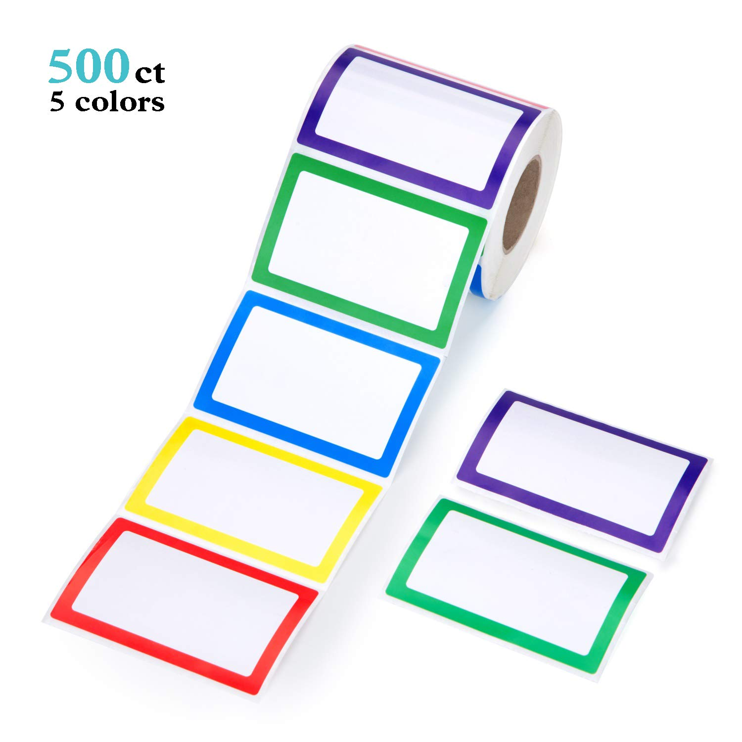 Kindergarten Meeting Mionno 5 Colors Adhesive Name Tag Labels 500pc 3.5 x2.25 Plain Name Tag Stickers//Category Tags for Office School Warehouses and Mailing Teachers Parties