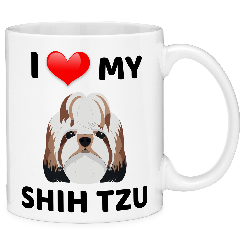 Mugvana I Love My Shih Tzu Dog Animal Coffee Mug Cup Fun Novelty Gifts for Women and Men with Gift Box (11oz)
