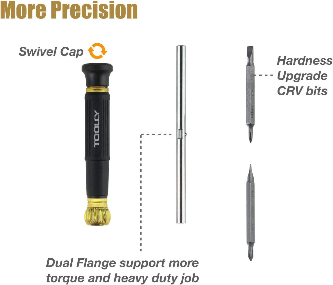 2 Slotted Tips Repair Home Improvement Toolcy 4 in 1 Precision Screwdriver Multi-Bit Screwdriver//Nut Driver with 2 Phillips