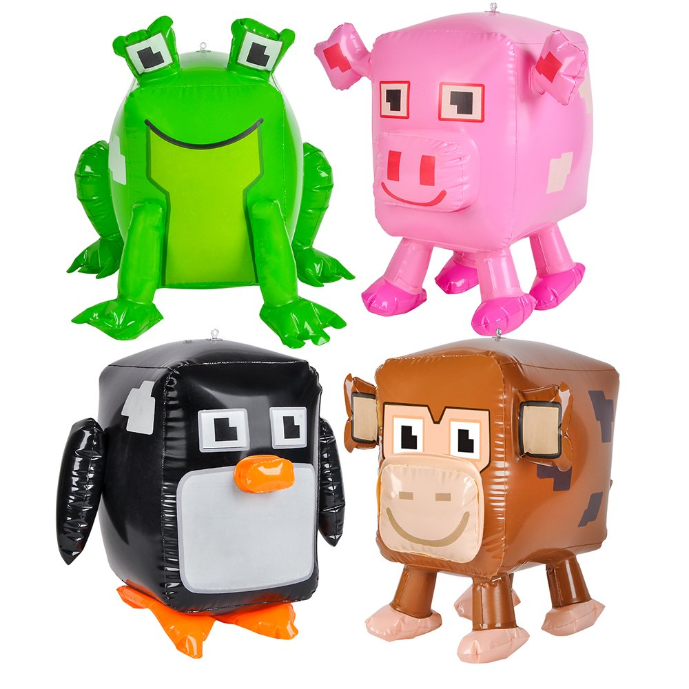 Animal Pixel Inflate 20'' - 8 Pack - Party Favors, Party Supplies, Party Decorations, Gamer, Prizes, Back to School, Stocking Stuffers