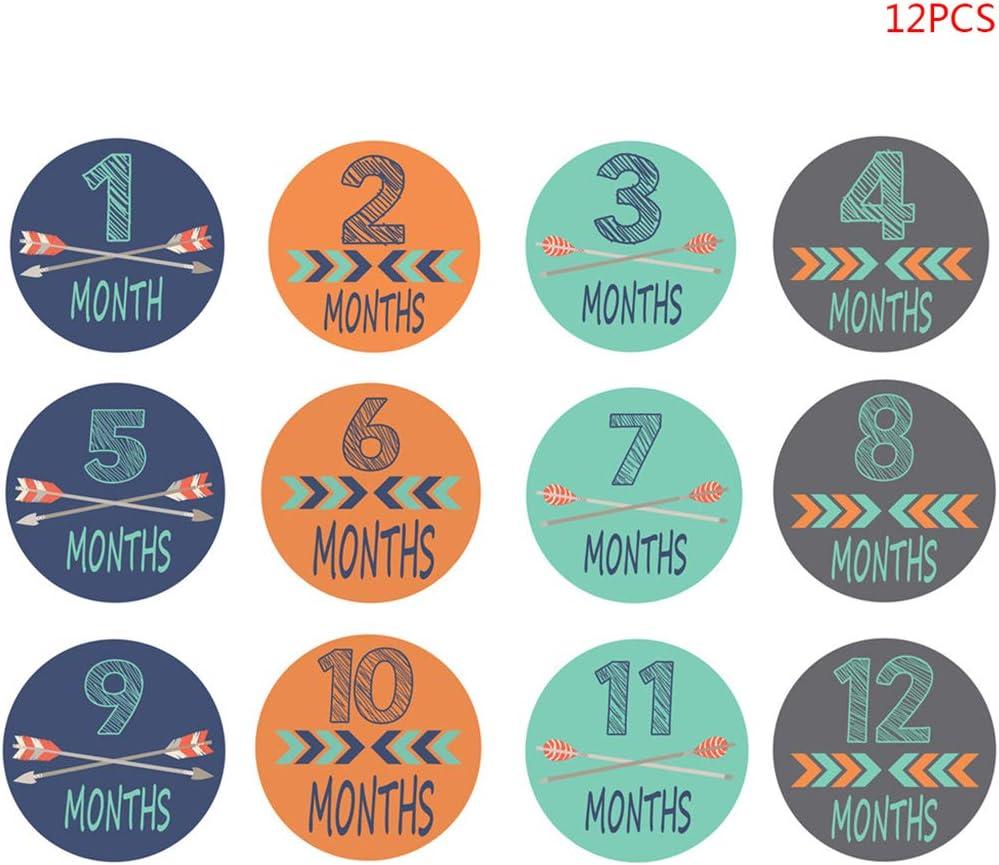 JunYe 12 Piezas/Juego Pegatina de 1-12 Meses Fotografía del bebé Hito conmemorativo Número de Tarjeta Conmemorativa para niños Nacidos mensualmente Accesorios de fotografía