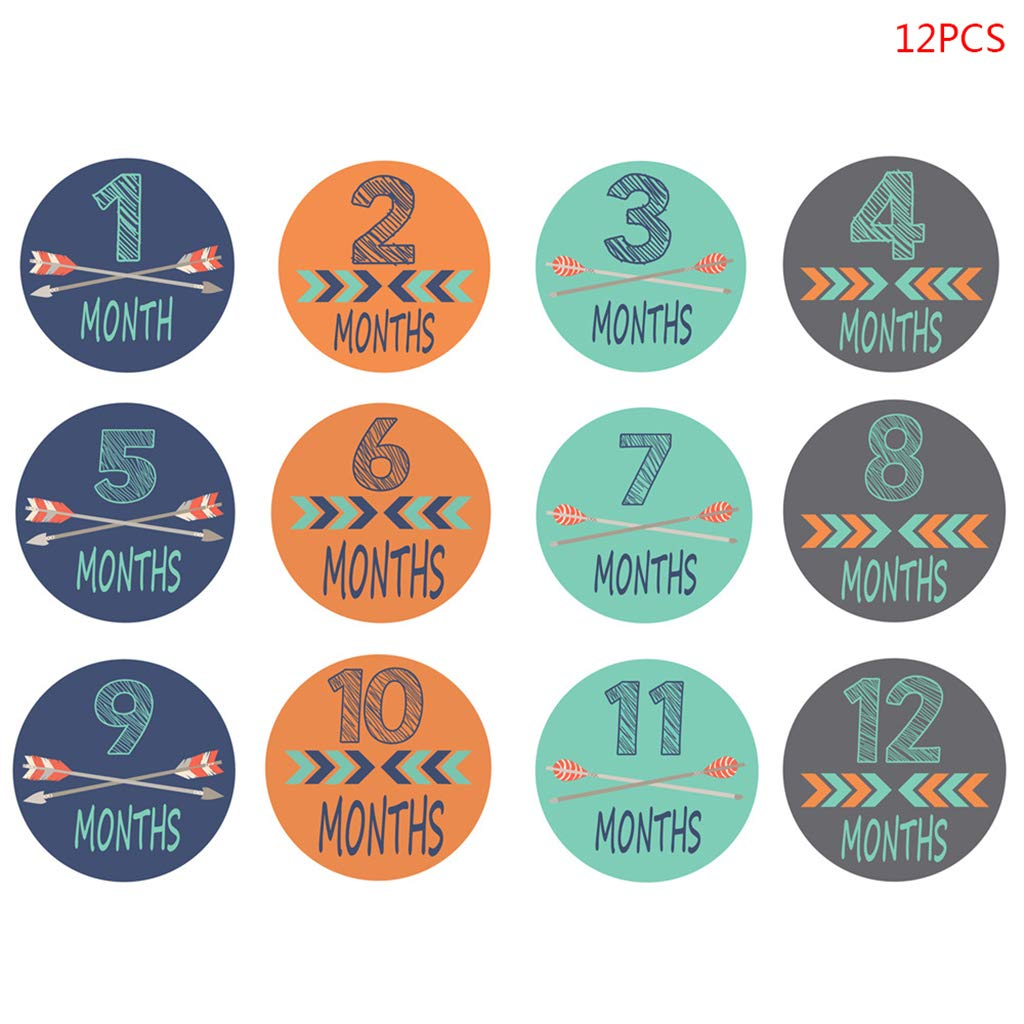 12 Pcs//set Baby Photography Prop Month Sticker Memorial Monthly Newborn Supplies