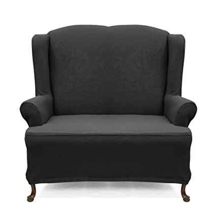 Wing Sofa Slipcover Stretch Pique Raven Black 710