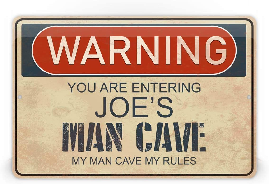 Custom Rustic Man Cave Warning Sign Customized Text Novelty Wall Decoration