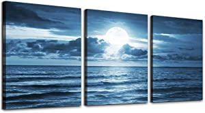 """3 Piece Canvas Wall Art for living room - blue sea view The moon Landscape - Modern Home Decor Room Stretched and Framed Ready to Hang - 12""""x16""""x3 Panels ocean"""