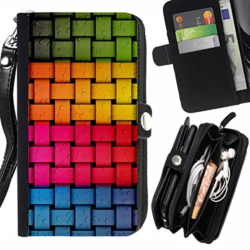 GOD CASE FOR SAMSUNG GALAXY S6 EDGE PLUS Criss Cross Color pattern Wallet Purse Pouch Holster Leater & Soft TPU