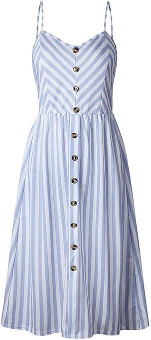 Vestido YONGYONGCHONG algodón y Lino de Verano para Mujer Tirantes ...