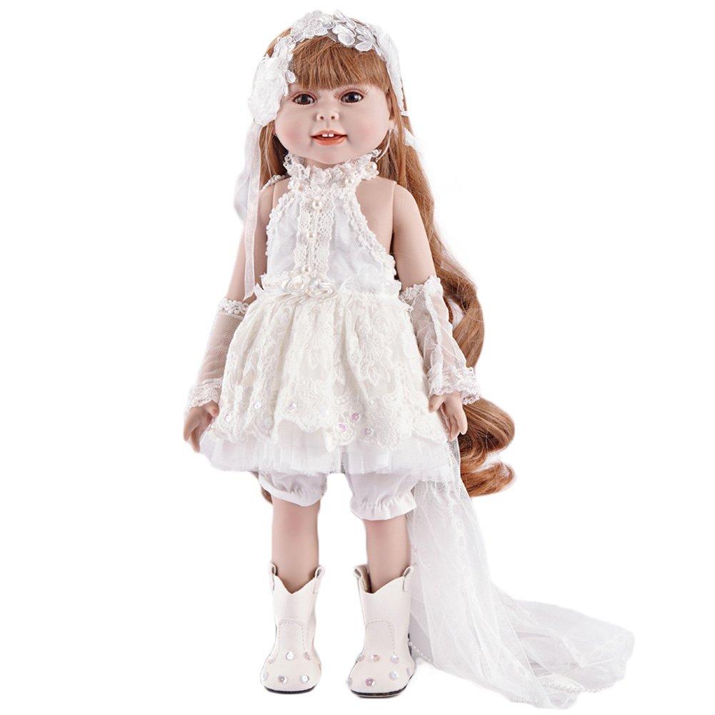 Pueri Babypuppe Reborn Puppe 17 Zoll Mädchen Gewichtete Lebensechte Puppe Soft Body Spielzeug Geschenkset für Kinder