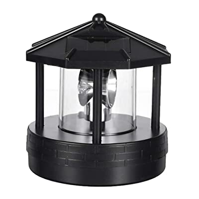 Tenrry Solar LED Rotating Lighthouse Light Garden Yard Lawn Lamp Lighting Outdoor Home Decor : Garden & Outdoor