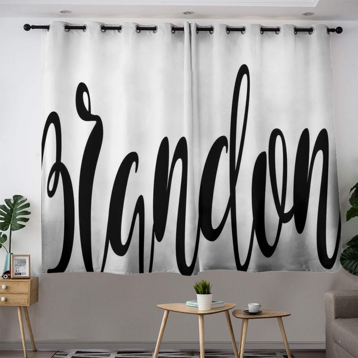 Bohogift BrandonCurtains are Super softWidespread Name Design with Monochrome Artistic Letters Cursive Font PatternCourtyard Door curtain55×72'' Black and White