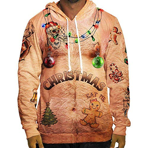 iYYVV Men Funny Sexy Christmas 3D Print Hooded Long Sleeve Pocket Sweatshirt Pullovers