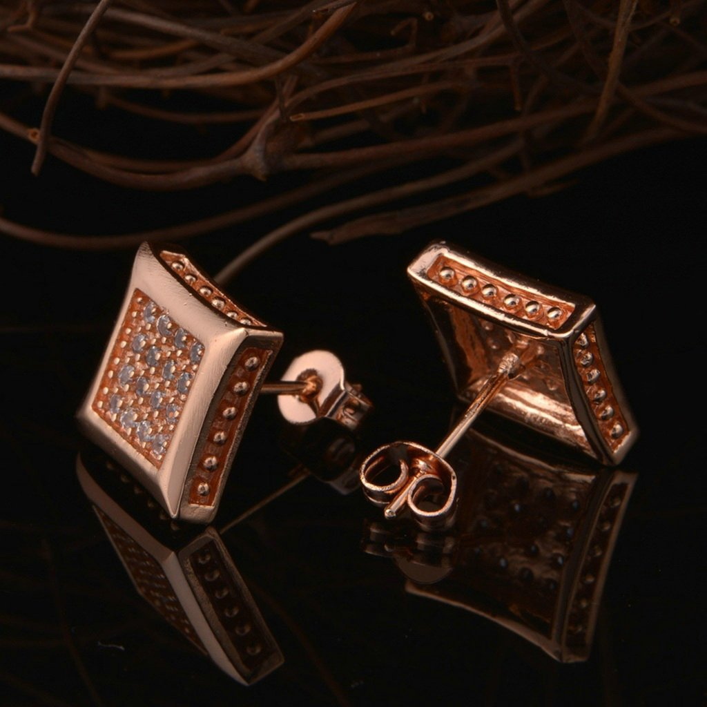 AnaZoz Jewelry Womens Stud Earrings Rose Gold Plated White Zirconia Square Earring Width 12mm for Women