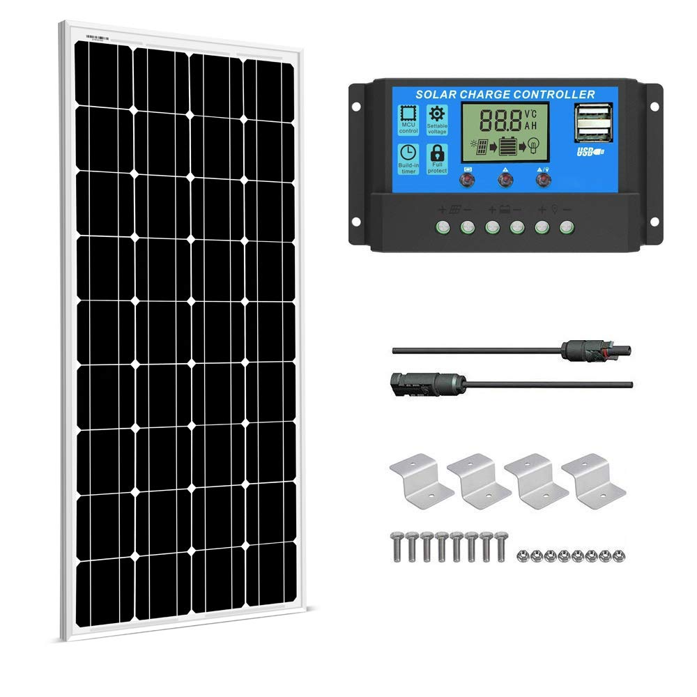 SUNGOLDPOWER 100 Watt 12V Monocrystalline Solar Panel Solar Module Kit 1pcs 100W Mono Solar Panel Solar Cell Grade A 20A LCD PWM Charge Controller Solar MC4 Extension Cables Set of Z-Brackets