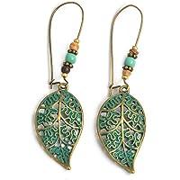 Pu Ran Fashion Women Hollow Leaves Dangle Hook Beads Earring Bohemia Charm Jewelry