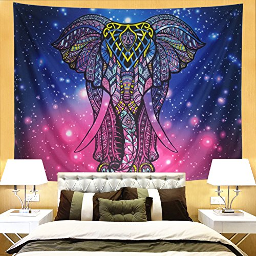 Ameyahud Psychedelic Tapestry Watercolor Indian Elephant Tapestry Wall Hanging Bohemian Starry Mandala Wall Tapestries Colorful Elephant Hippie Tapestry Wall Art for Bedroom Dorm Decor