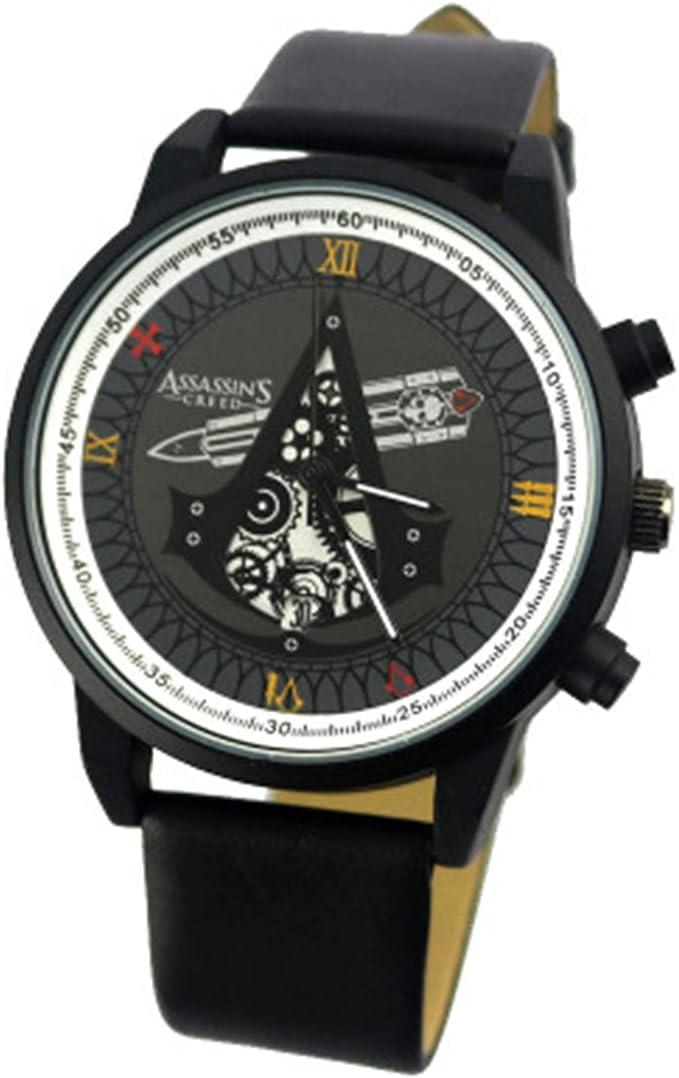 POMUTRE Hombre Relojes de Pulsera Assassins Creed Watch Pareja Relojes de Pulsera Relojes con Movimiento de Bandera Negra (Negro, Estilo B): Amazon.es: Relojes