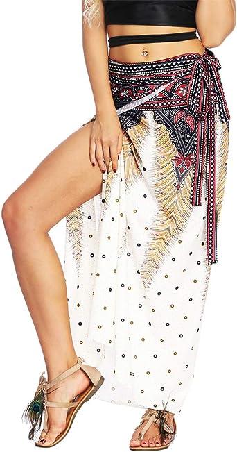 YoungSoul Faldas Largas Cruzadas Mujer Cintura Alta Verano ...