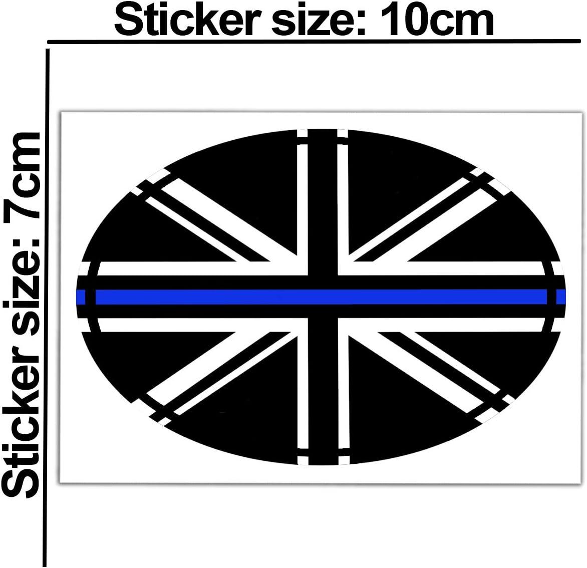 Biomar Labs/® 2 x Adesivi Vinile Ovale Bandiera Nazionale della Gran Bretagna UK Inghilterra Union Jack Thin Blue Line per Auto Moto Finestr/ìno Scooter Bici Motociclo Tuning B 240