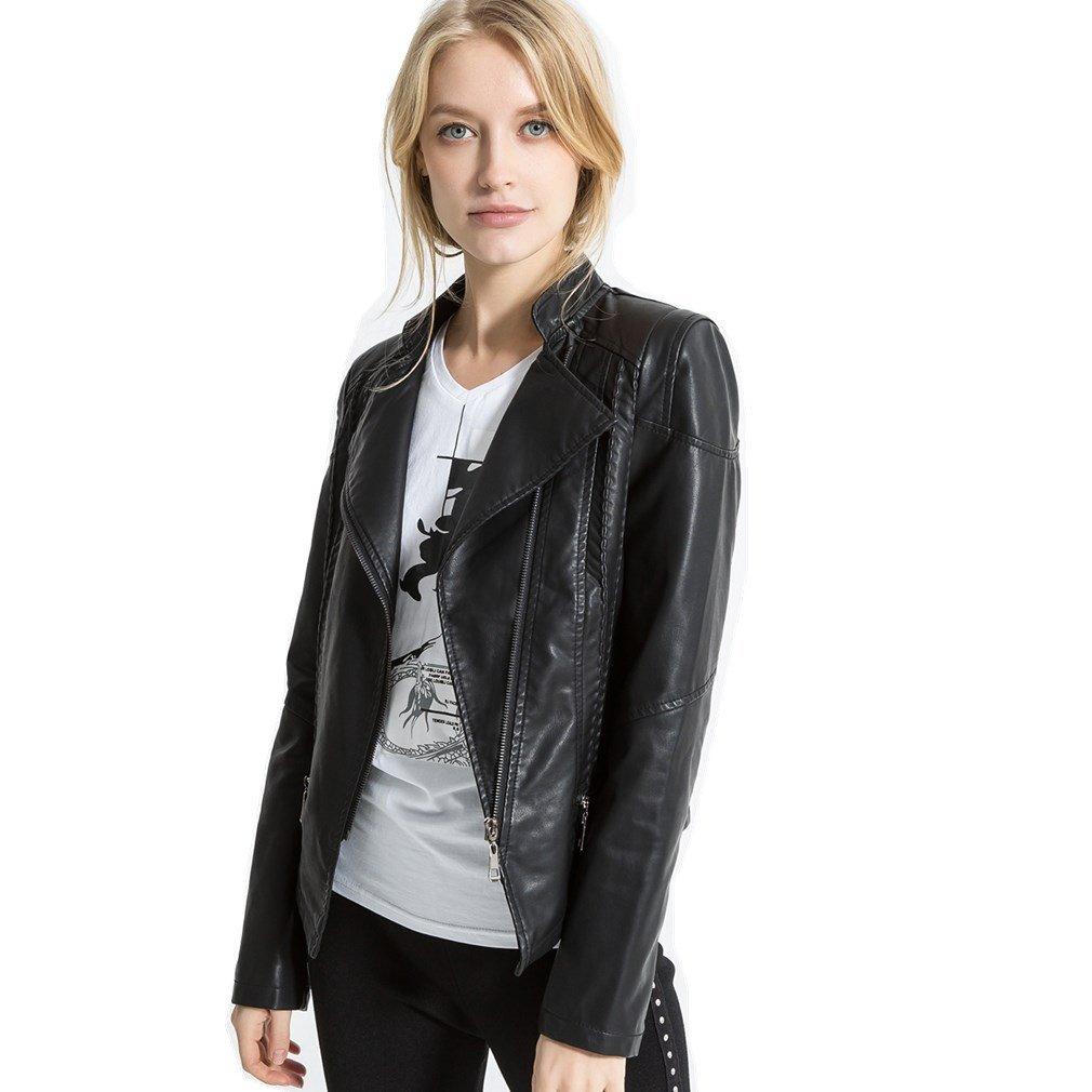 LIANGLIANG Women's Faux Leather Collar Moto Biker Short Jacket