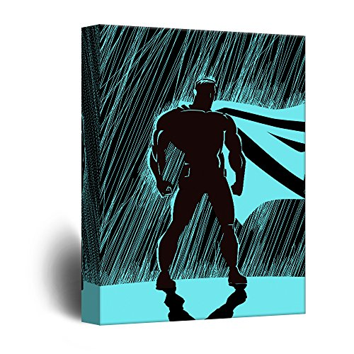 Superhero Silhouette Standing in The Rain Comic Strip Pop Art