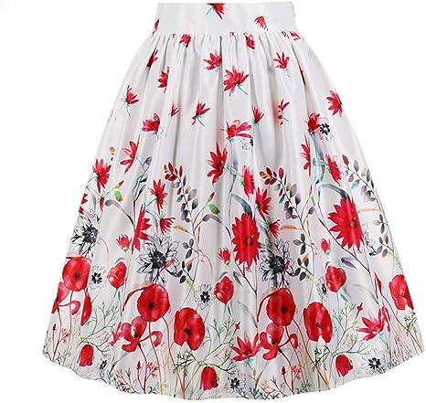 HEHEAB Falda,Las Flores Rojas Polyester Spandex Imprimir Falda ...