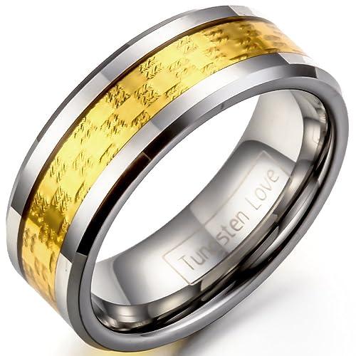 JewelryWe Anillo de la joyería de la mujer del hombre de 8 mm de color oro