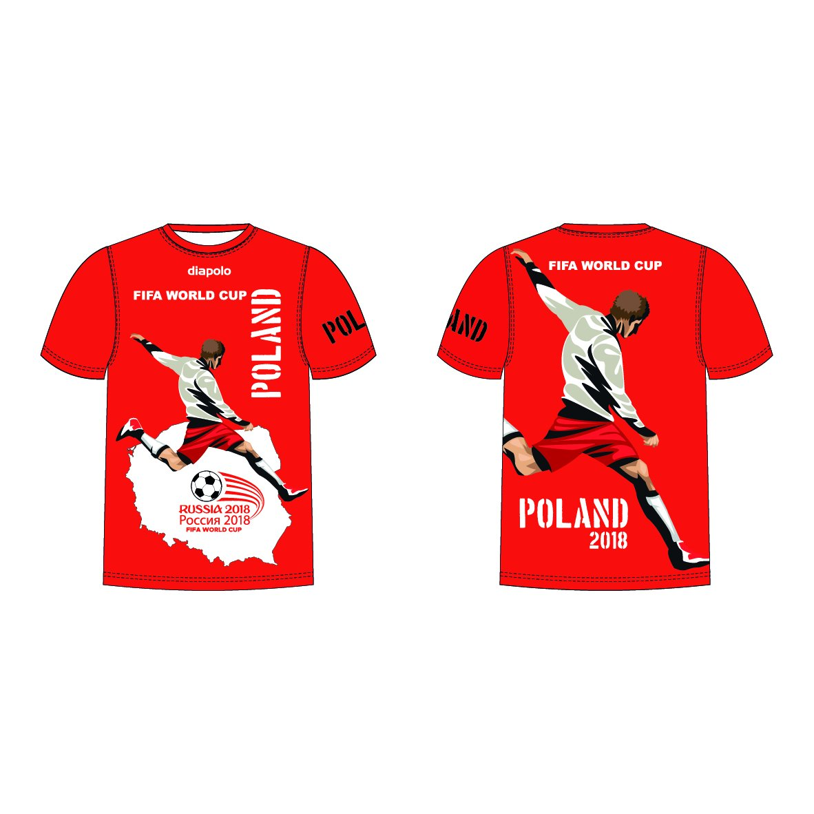 Diapolo Professional Atmungsaktiv Qualitativ Hochfertiger Funktion Fan T-shirt Poland S M L XL XXL