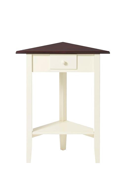 Premier Housewares Tavolino ad angolo con top in legno scuro, 71 x ...