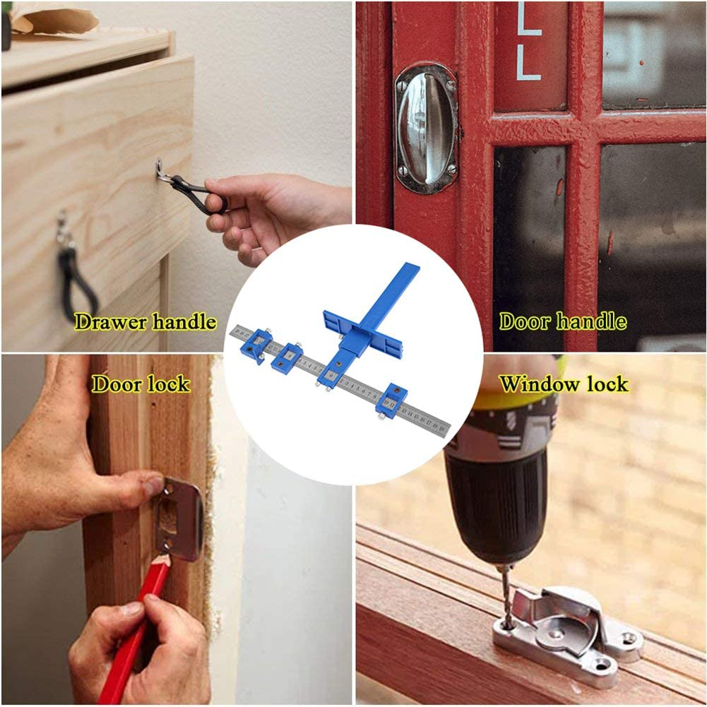 home woodworking punch locator adjustable metal metal punch locator aid for mounting handles including drill bit knobs on the door and drawer pull Multi-function punch locator hardware fixture