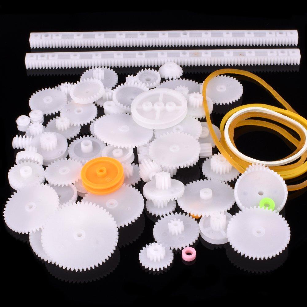 Quima Plastic Gear Set 75Pcs Single Double Reduction Gear Worm Gear for DIY Car Robot QY12