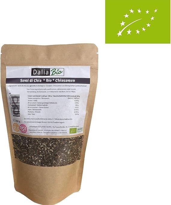 Dalia Bio - Semillas de Chia Calidad Premium 250 g - | Alto contenido de Fibras | Proteinas | Ácidos grasos Omega-3 | Vegano | Sin Gluten |: Amazon.es: Alimentación y bebidas