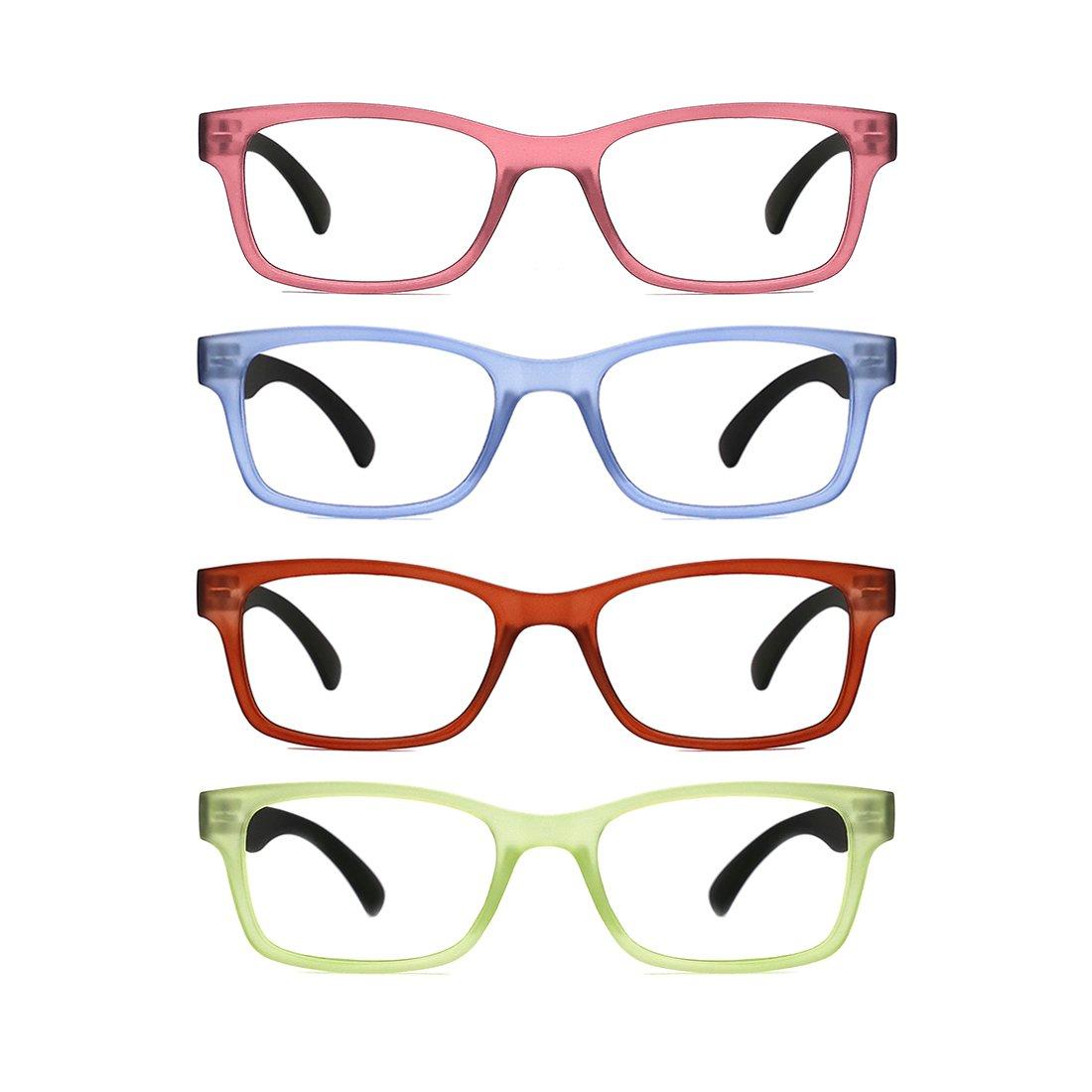 TIJN 4 Packs Screwless Comfort Reading Glasses Fashion Readers Eyeglasses for Reading Men Women(+3.0)