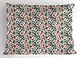 Lunarable Poker Pillow Sham, Aces of All Card Suites Scattered on Gambling Table Abstract Poker Theme, Decorative Standard Queen Size Printed Pillowcase, 30 X 20 Inches, Hunter Green Red Black