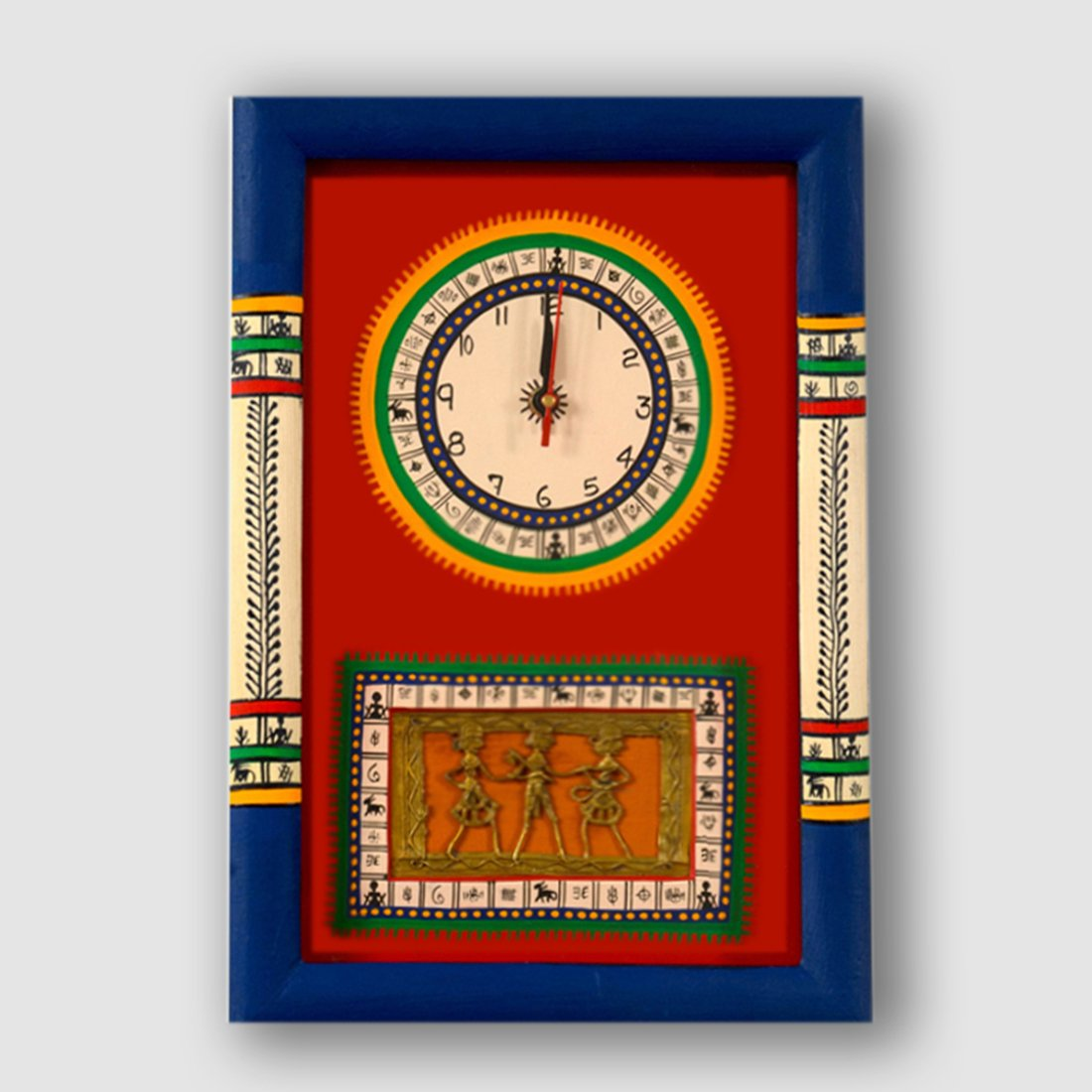 ExclusiveLane Warli Handpainted and Dhokra Work Clock 1510 Inch Red - Decorative Wall Clocks For Bedroom Clocks For Kids Wall Décor Gift Items Wall Decorations For Living Room