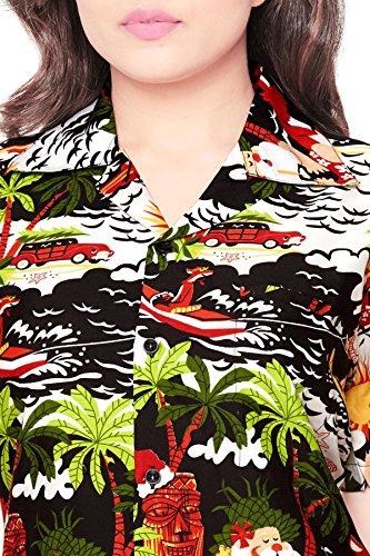 CLUB CUBANA Chemise Blouse Christmas XMAS, étroite, florale, décontractée à manches courtes pour femmes