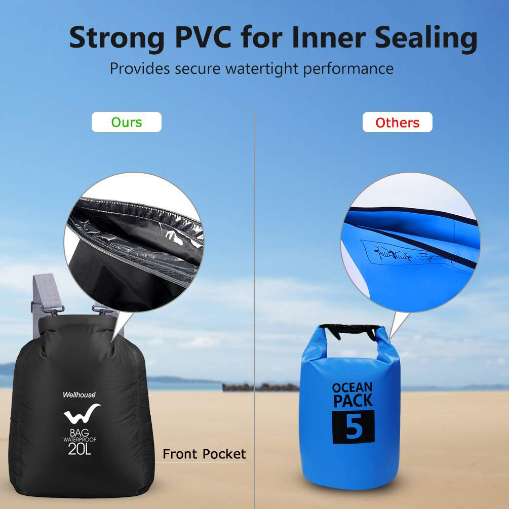 Waterproof Dry Bag Backpack 10L/20L, Roll Top Seal Dry-Bag with Adjustable Double Shoulder Strap Storage Floating Sack for Kayaking Boating Sailing Canoeing Rafting Hiking Camping Outdoors Sport