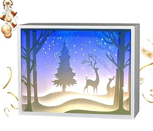 partymaster Navidad alce Papercut cajas de luz linterna de papel, 3d caja de sombra lámpara