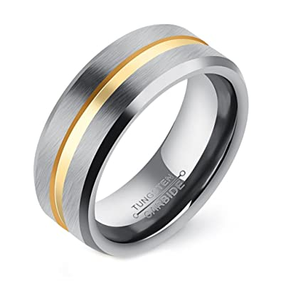 JAJAFOOK 8mm Gold Plated Tungsten Steel Ring Matte Finish Wedding Band Grooved Center Comfort Fit