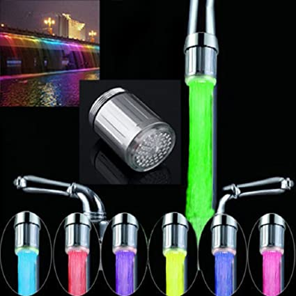 Amazon.com: LED Water Stream Faucet Light Automatic 7 Colors ...