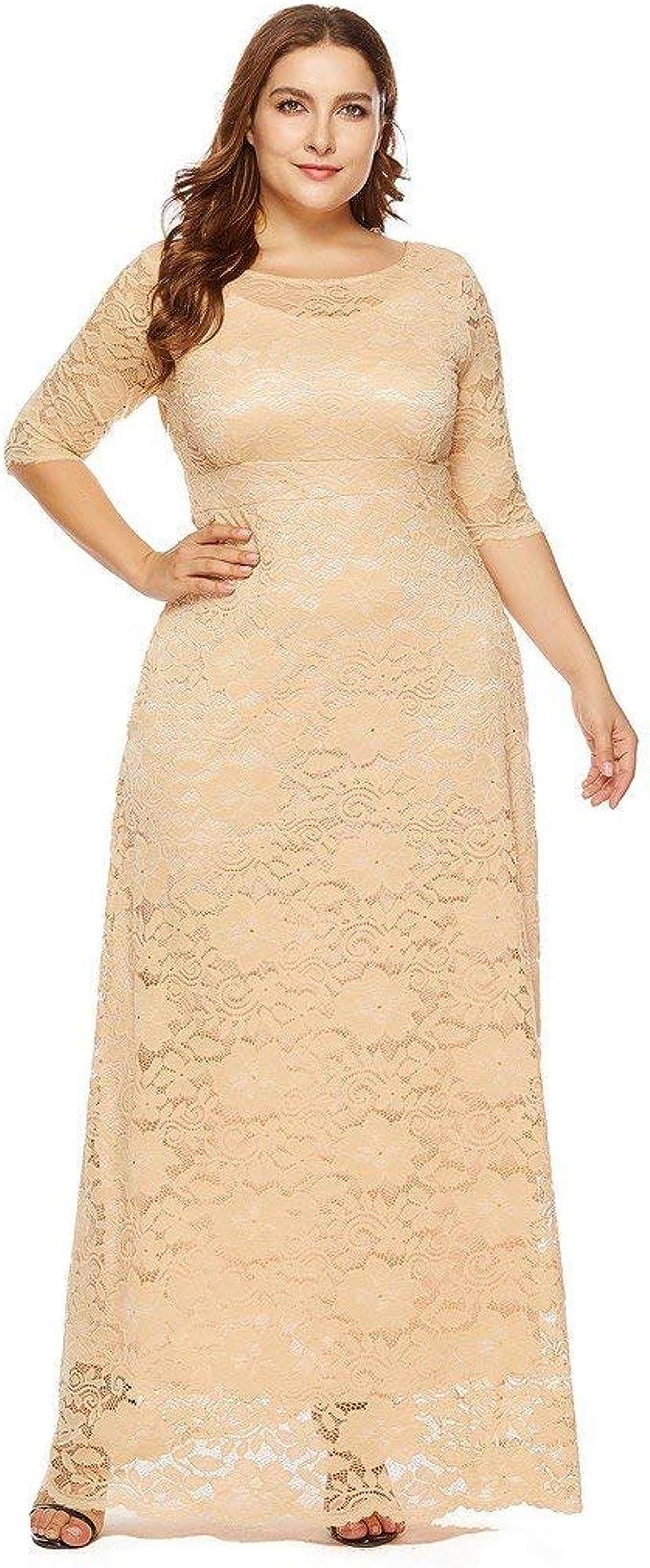 Damen Kleider in Übergrößen Vintage Blumen Spitzen Swing-Kleid Oversize  Formal Abendkleider Rundhals Partykleid Swing-Kleid Cocktailkleid Elegant